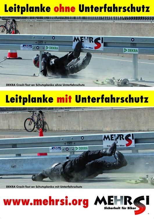 MEHRSi Crashtest mit und ohne Leitplanken-Unterfahrschutz