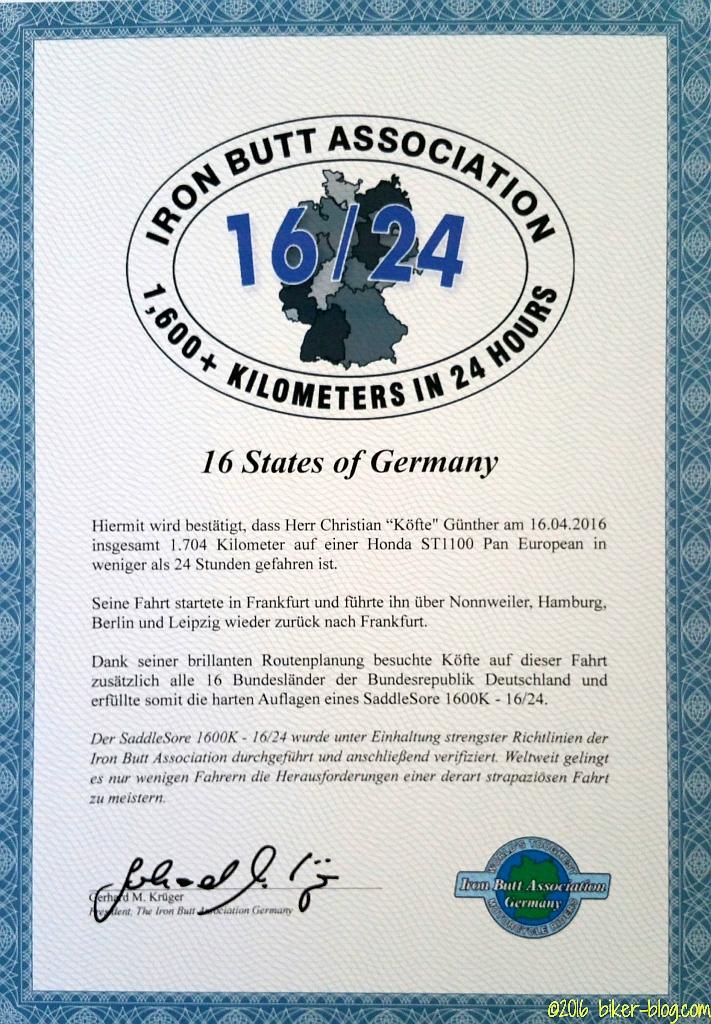 Urkunde der Iron Butt Association Germany zur Zertifizierung von Köftes 16/24