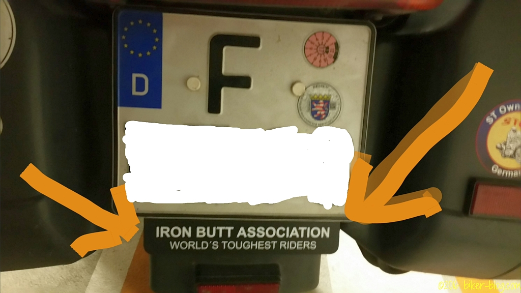 Iron Butt Association Kennzeichenunterlage