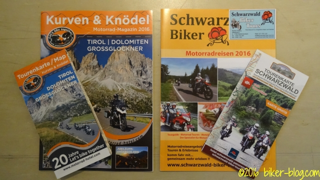 Reiseprospekte Schwarzwald Biker Tours und Kurven und Knödel Magazin