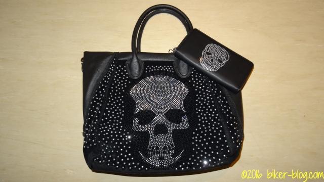 Handtasche mit Portemonnaie im Totenkopf Design